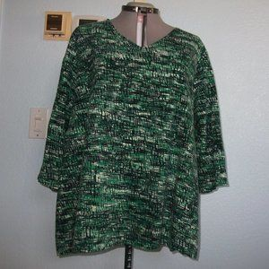 Catherines Plus Size 3X 4X 26 28 Green Blouse Top